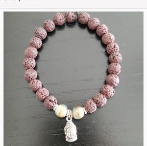 Other - Men's Brown Lava Stone Beaded Bracelet